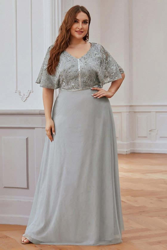 Plus Size Elegant Grey Tulle Evening Dress With Cape Sleeves
