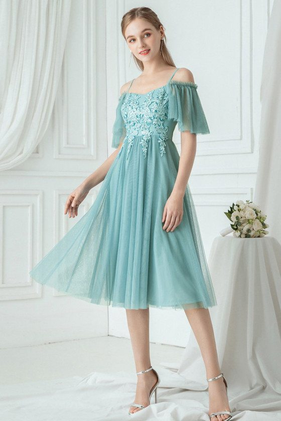 Dusty Blue Knee Length Hoco Dress With Appliques Cold Shoulder