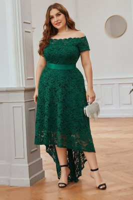 Green Aline Plus Size Lace...