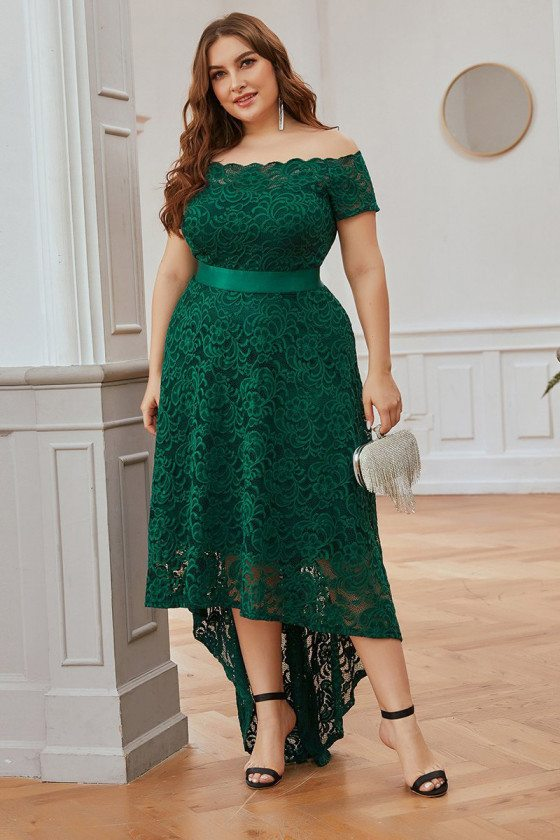 Green Aline Plus Size Lace High Low Evening Party Dress With Sleeves