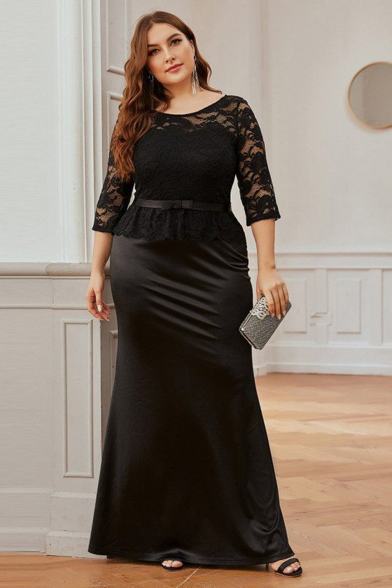 Plus Size Formal Black Mermaid Evening Dress With Lace Half Sleeves