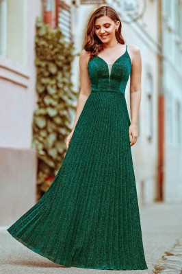 Glitter Green Pleated Vneck...