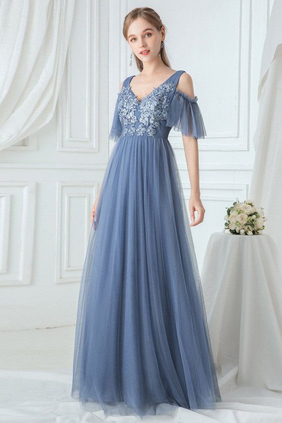 Dusty Navy Empire Tulle Bridesmaid Dress With Appliques Cold Shoulder