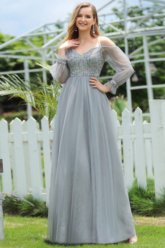 Grey Sequins Aline Long Formal Dress With Sheer Sleeves For Teens