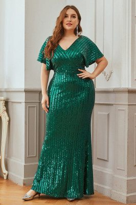 Plus Size Green Sequins...