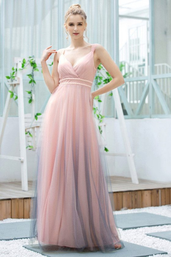 Ombre Pink Vneck Long Wedding Party Dress With Straps