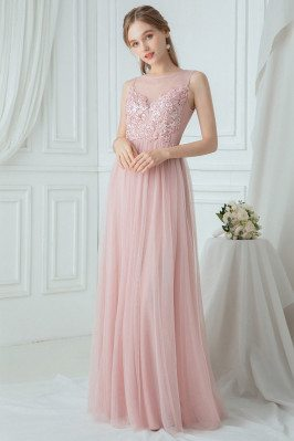 Flowy Pink Tulle Long...