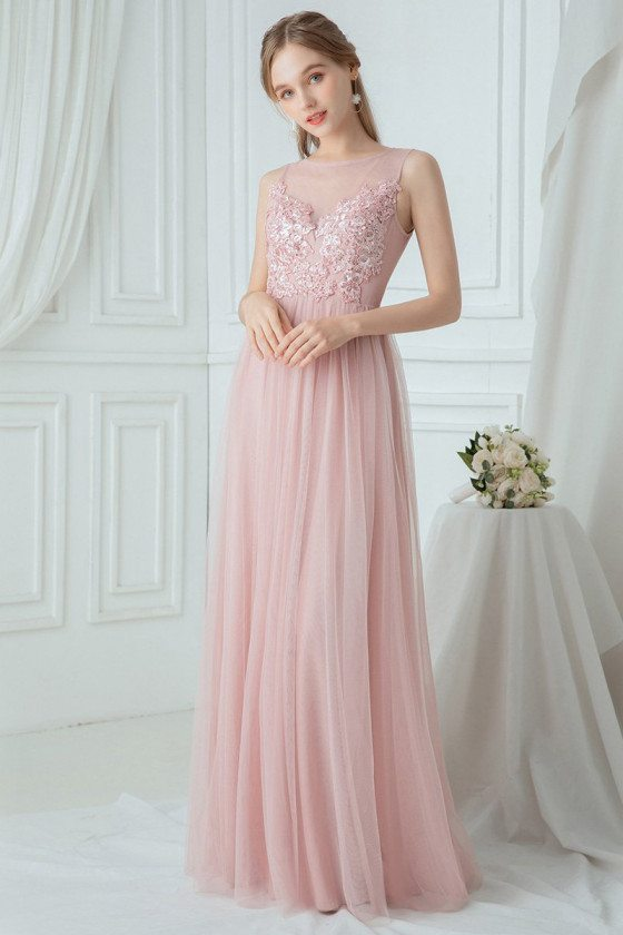 Flowy Pink Tulle Long Bridesmaid Dress With Appliques