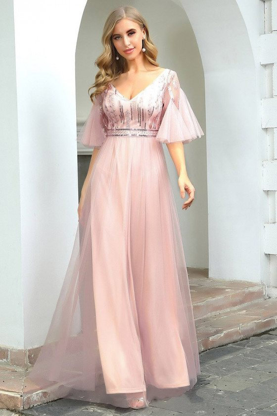 Cute Pink Tulle Sleeves Aline Long Party Dress With Sequins