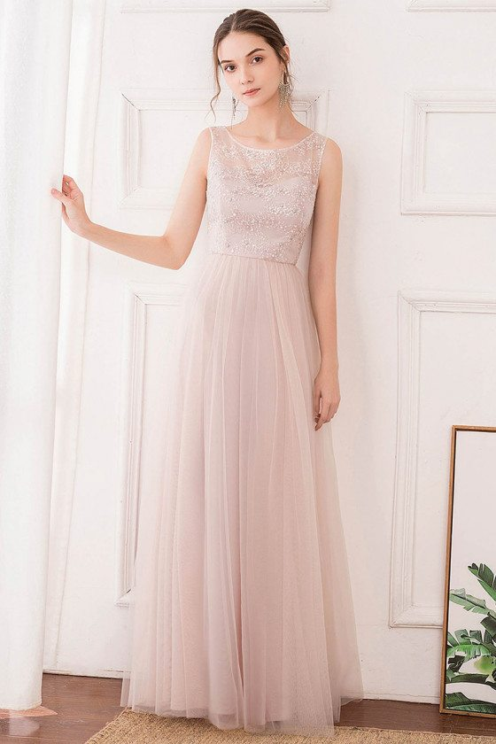 Pink Aline Long Tulle Bridesmaid Dress With Embroidery
