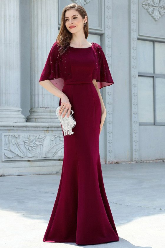 Classy Burgundy Mermaid Evening Dress With Puffy Sleeves