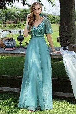 Dusty Blue Vneck Long Prom...