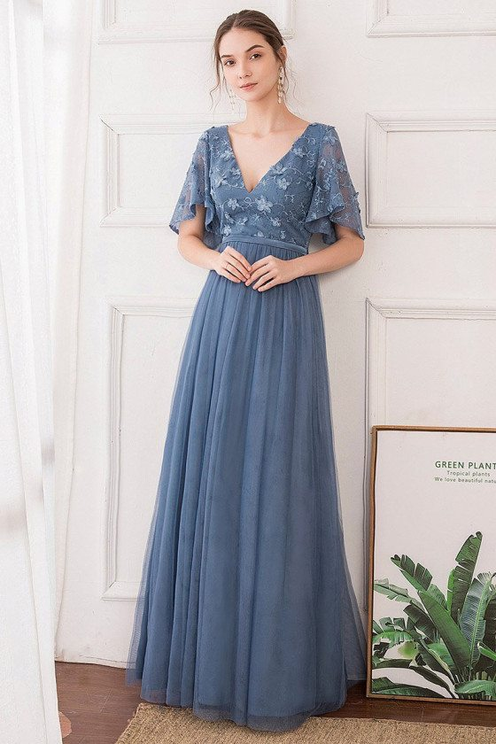 Dusty Navy Blue Vneck Elegant Bridesmaid Dress With Puffy Sleeves