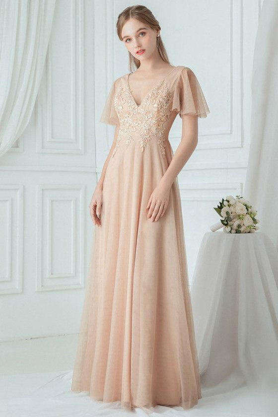 Blush Vneck Embroidered Bridesmaid Dress With Ruffle Sleeves