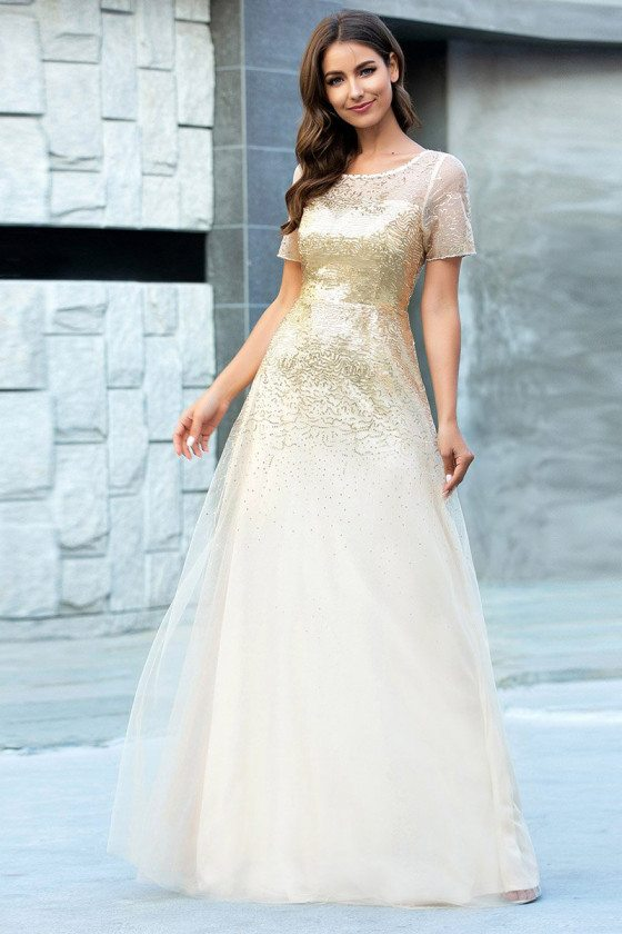 Gold Sequins Evening Party Dress With Illusion Short Sleeves