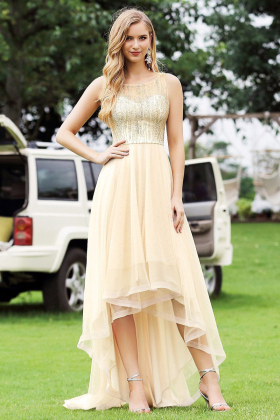 Gorgeous Gold High Low Prom Party Dress With Bling Sequins