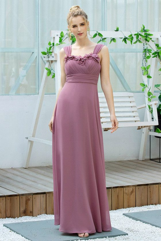Purple Elegant Ruched Long Bridesmaid Dress With Straps