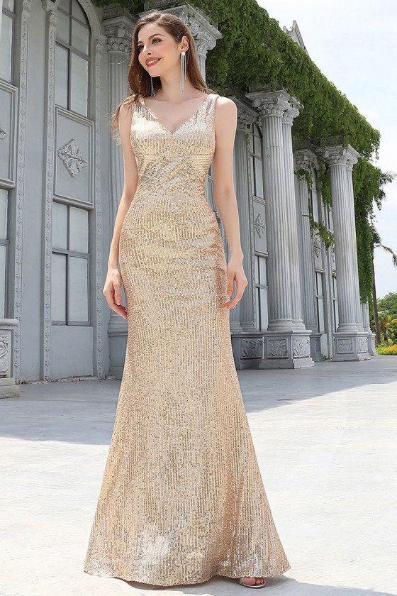 Rose Gold Floor Length Mermaid Evening Dress Vneck For Formal