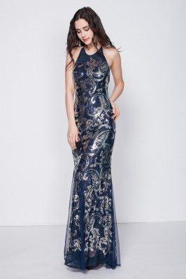 Sexy Open Back Embroidery Long Prom Dress
