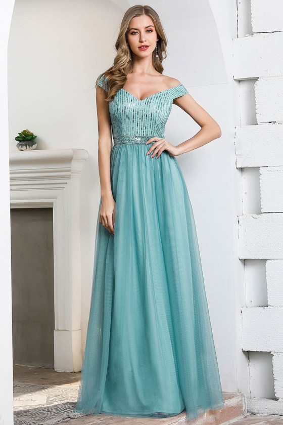 Dusty Blue Off Shoulder Long Prom Dress With Bling Sequins