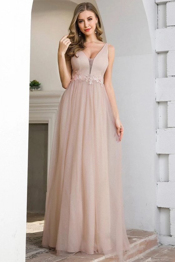 Pink Tulle Aline Vneck Long Bridesmaid Dress With Appliques