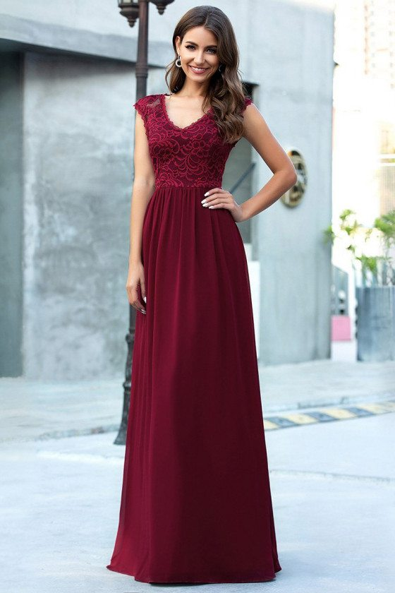 Burgundy Lace Cap Sleeves Chiffon Evening Dress Vneck