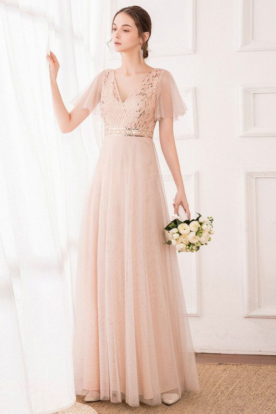 Blush Pink Tulle Bridesmaid Dress Vneck With Sequined Bodice
