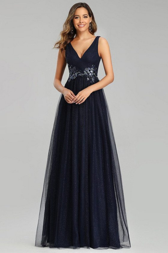 Navy Blue Vneck Aline Long Tulle Prom Dress With Appliques