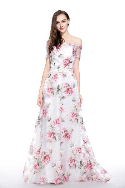Floral Print Off Shoulder Long Party Dress