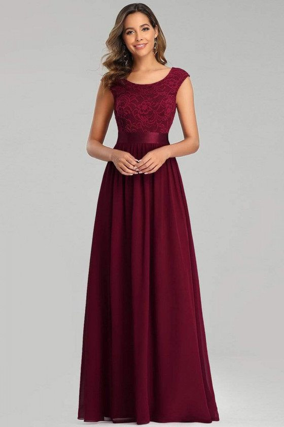 Burgundy Lace Aline Long Bridesmaid Dress With Sash