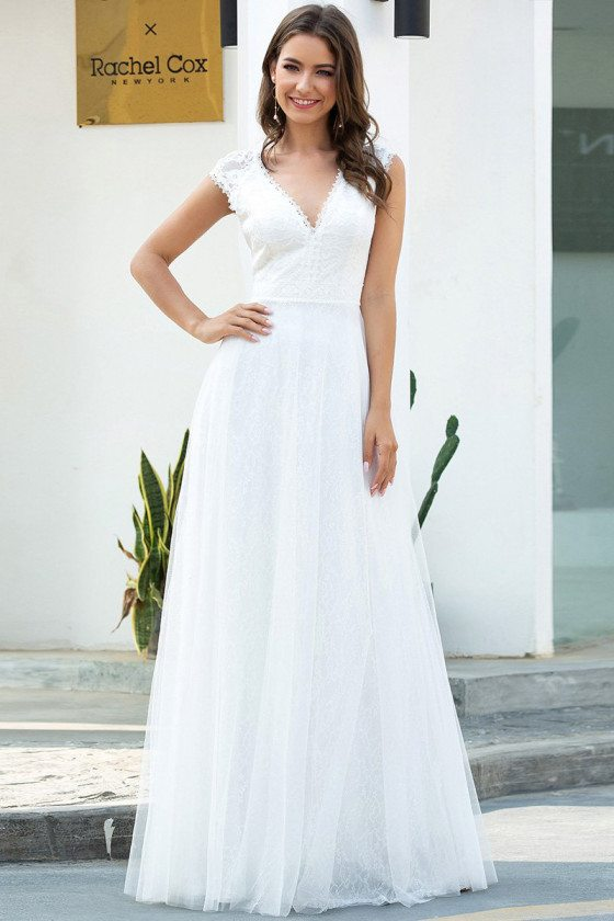 Vneck White Lace Wedding Reception Party Dress For Less