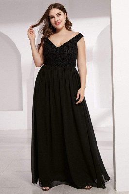 Plus Size Black Chiffon...