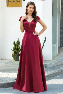 Simple Vneck Satin Long...