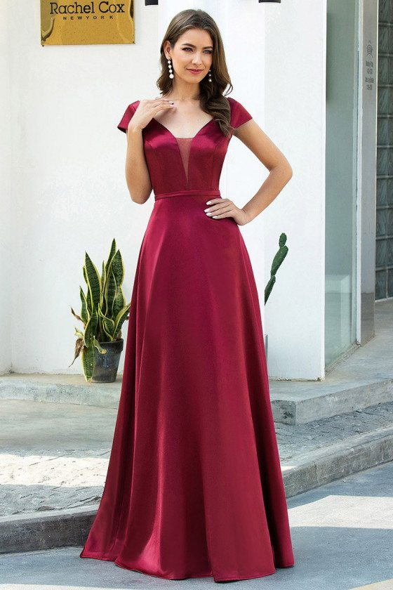 Simple Vneck Satin Long Prom Dress With Cap Sleeves