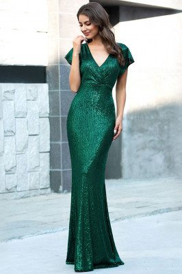 Green Sequins Slim Long...