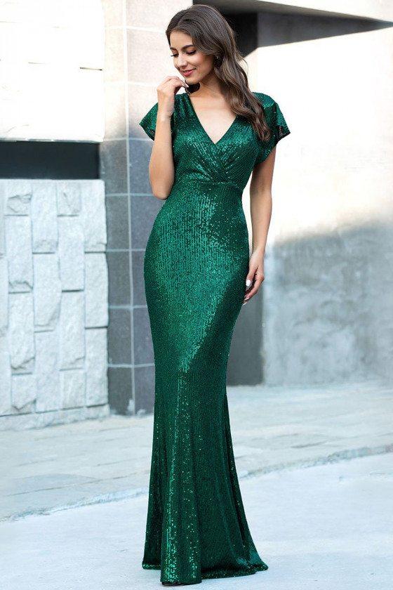Green Sequins Slim Long Evening Dress Mermaid Vneck With Sleeves