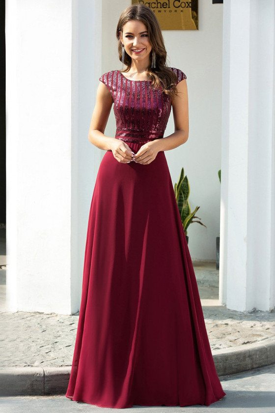 Modest Cap Sleeves Sequined Chiffon Evening Dress With Sequins