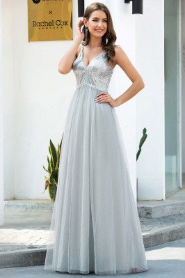Grey Sequins Vneck Long...