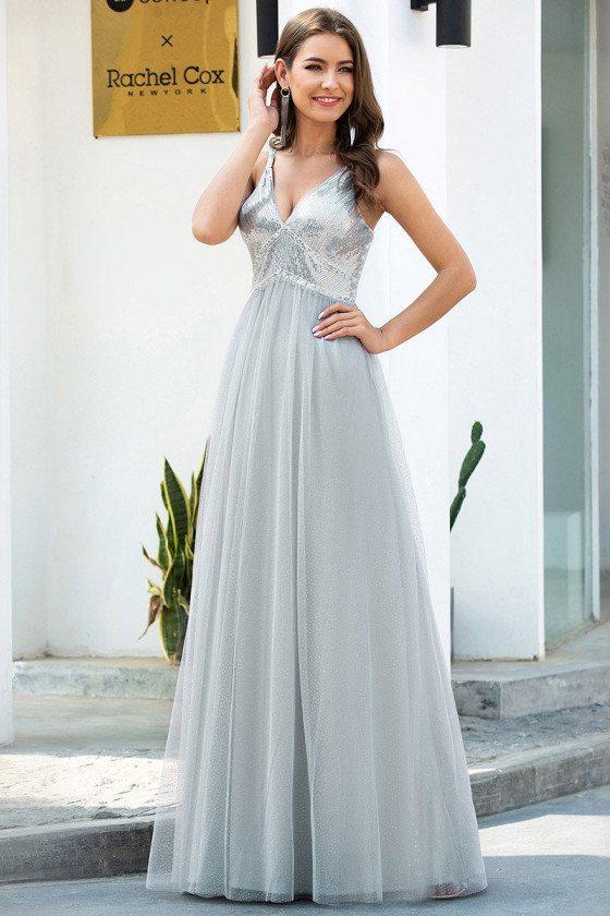 Grey Sequins Vneck Long Tulle Prom Dress