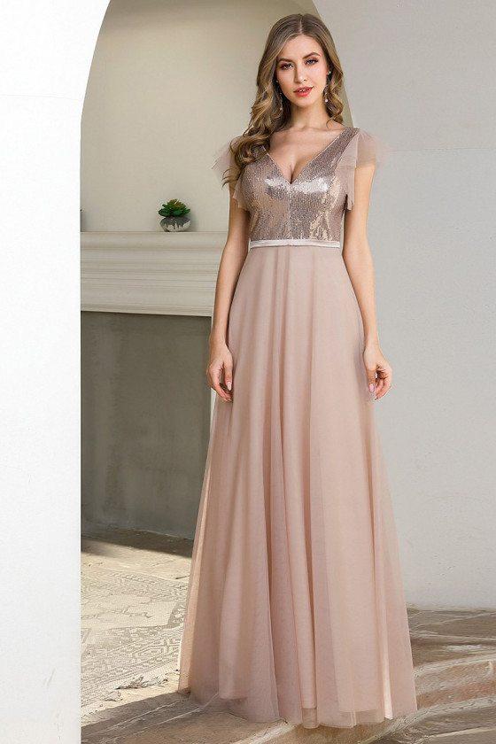 Vneck Blush Sequins Top Bridesmaid Dress For Cheap