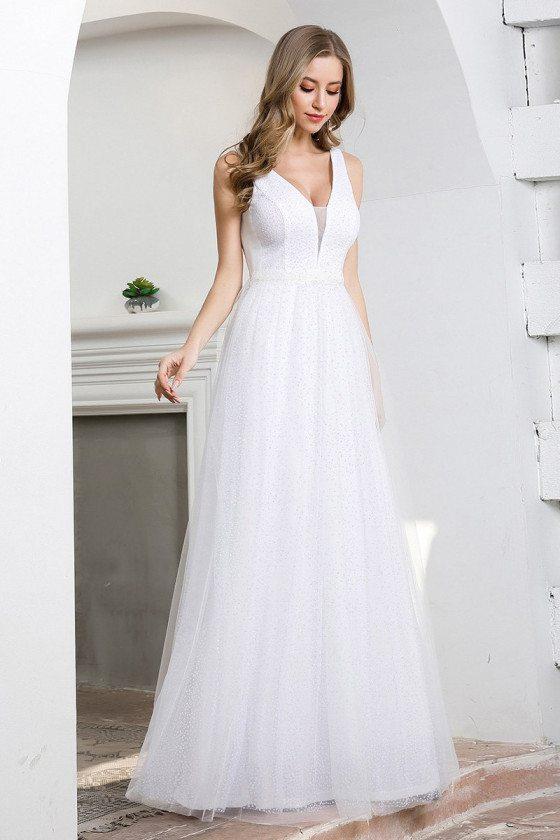 Elegant Floor Length Tulle Simple White Prom Dress With Beading