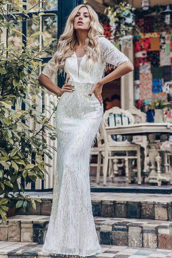 Vneck Sequin Bling Mermaid Prom Dress With Tassels