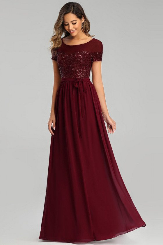 Burgundy Chiffon Long Evening Dress With Sequins Modest Sleeves
