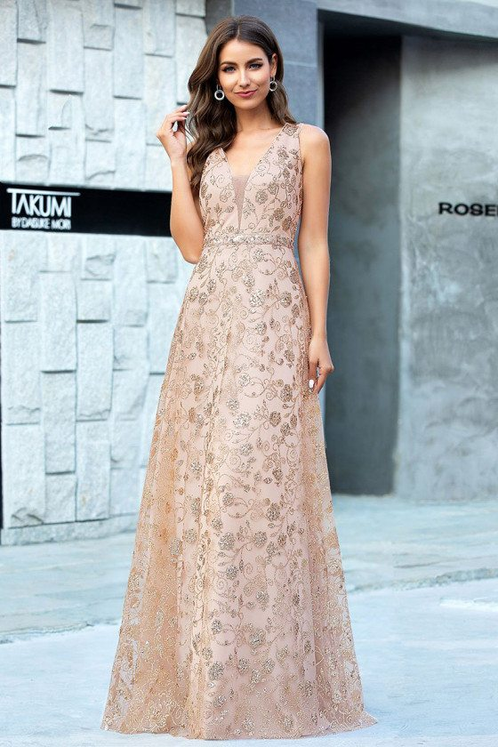 Rose Gold Elegant Tulle Evening Dress With Flowers Pattern