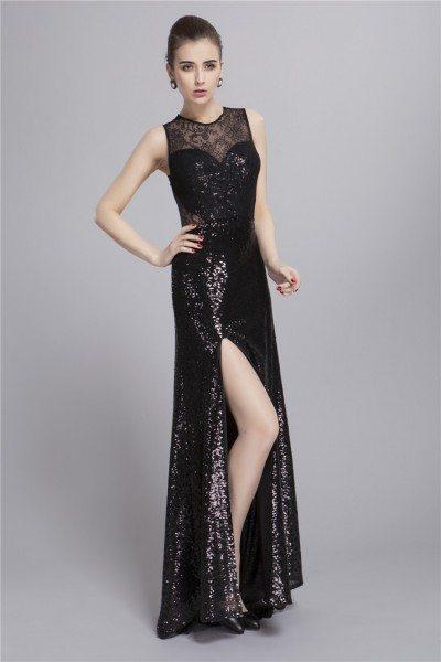 Sequin Sleeveless Slit Long Party Dress