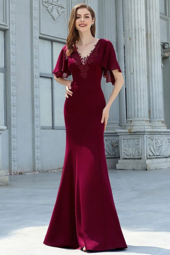 Burgundy Vneck Lace Mermaid Evening Dress With Sleeves