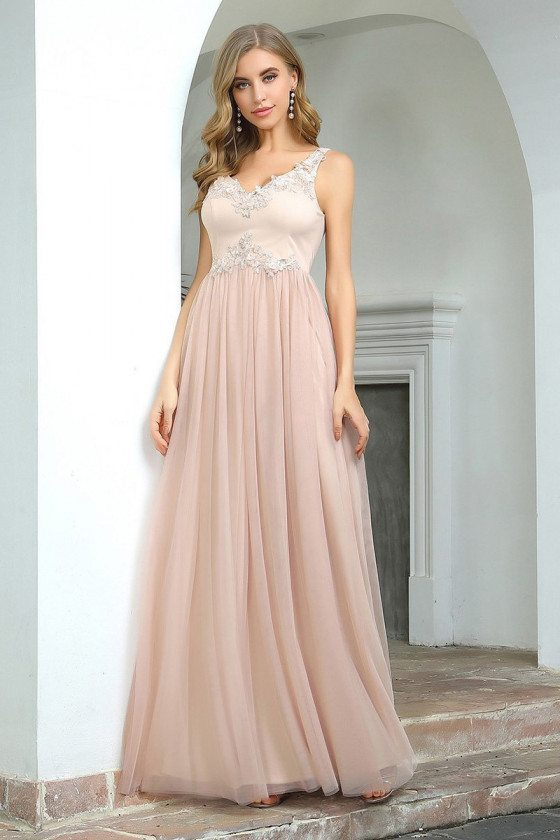 Blush Vneck Lace Long Tulle Evening Party Dress Sleeveless