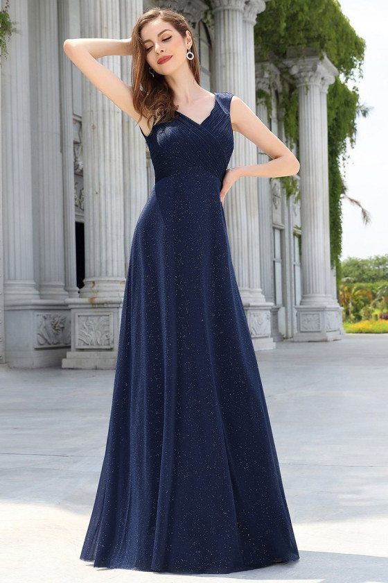 Navy Blue Bling Aline Simple Evening Dress Sleeveless