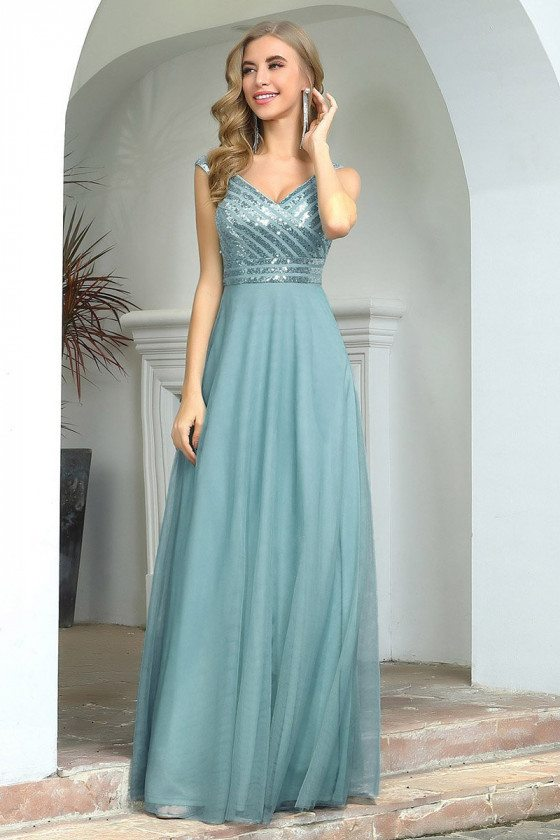 Dusty Blue Aline Long Wedding Party Dress With Bling Sequins