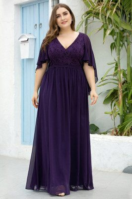 Dark Purple Vneck Plus Size...